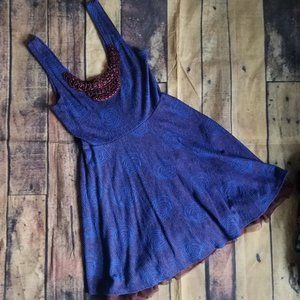 Free People Purple Floral Fit and Flare Dress Sm